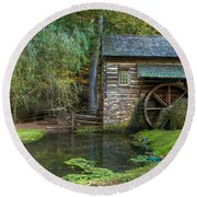 Mill Pond In Woods Round Beach Towel