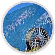 Mill Wheel In The Mountains Round Beach Towel
