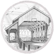 Miller's Run Covered Bridge Round Beach Towel