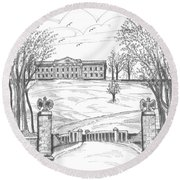 Mills Mansion Staatsburg Round Beach Towel