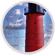 Round Beach Towel featuring the photograph Milwaukee Pierhead Light by Deborah Klubertanz
