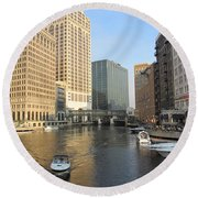 Milwaukee River Theater District 3 Round Beach Towel