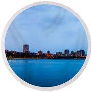 Milwaukee Skyline - Version 1 Round Beach Towel