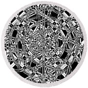 B W Sq 7 Round Beach Towel