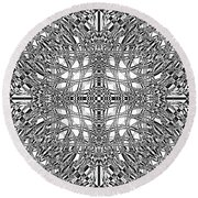 B W Sq 9 Round Beach Towel
