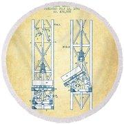 Mine Elevator Patent From 1892 - Vintage Paper Round Beach Towel