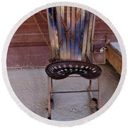 Round Beach Towel featuring the photograph Miner's Rocker by Fran Riley