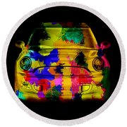 Mini Cooper Colorful Abstract On Black Round Beach Towel