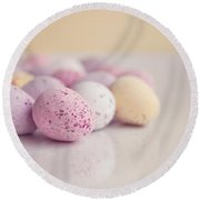 Mini Easter Eggs Round Beach Towel by Lyn Randle