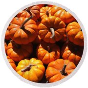 Round Beach Towel featuring the photograph Mini Fall Pumpkins by Denyse Duhaime