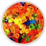 Mini Gummy Bears Round Beach Towel