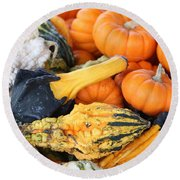 Round Beach Towel featuring the photograph Mini Pumpkins And Gourds by Cynthia Guinn