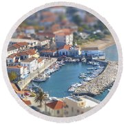 Round Beach Towel featuring the photograph Miniature Port by Vicki Spindler