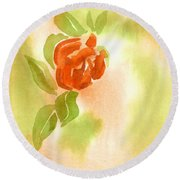 Round Beach Towel featuring the painting Miniature Red Rose II by Kip DeVore