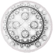 Minimalist Fractal Art Black And White Circles Round Beach Towel