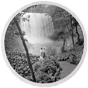Round Beach Towel featuring the photograph Minnehaha Falls Minneapolis Minnesota 1915 Vintage Photograph by A Gurmankin