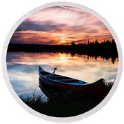 Minnesota Sunset Round Beach Towel