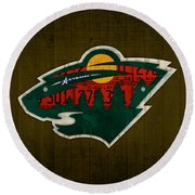 Minnesota Wild Retro Hockey Team Logo Recycled Land Of 10000 Lakes License Plate Art Round Beach Towel by Design Turnpike