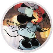 Minnie Mouse Sketchy Round Beach Towel