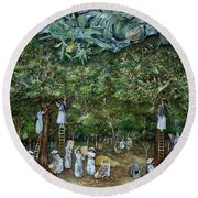 Miraculous Vision Of The Virgin In The Orange Orchard, 1996 Oil On Canvas Round Beach Towel