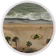 Miraflores Beach Panorama Round Beach Towel
