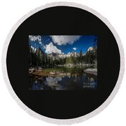 Round Beach Towel featuring the photograph Mirror Lake by Steven Reed
