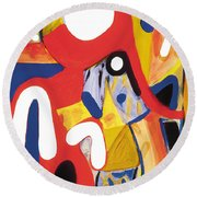Round Beach Towel featuring the painting Mirror Of Me 2 by Stephen Lucas
