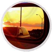 Mirror Sunset Round Beach Towel