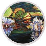 Mirrored Lilies Round Beach Towel by Jane Girardot