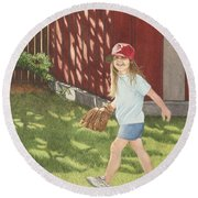 Round Beach Towel featuring the painting Mischief by Dee Dee  Whittle