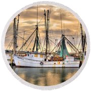 Miss Hale Shrimp Boat Round Beach Towel