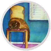 Kitty's Nap Round Beach Towel