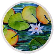 Whimsical Waterlily Round Beach Towel