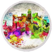 Missing Los Angeles Round Beach Towel by Daniel Janda