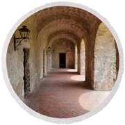 Mission Concepcion Promenade Walkway In San Antonio Missions National Historical Park Texas Round Beach Towel by Shawn O'Brien