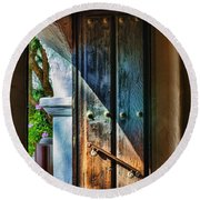 Mission Door Round Beach Towel
