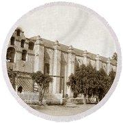 Mission San Gabriel Arcangel California Circa 1895 Round Beach Towel