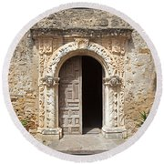 Mission San Jose Chapel Entry Doorway Round Beach Towel