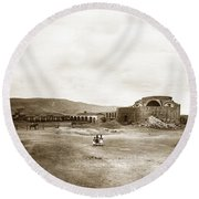Mission San Juan Capistrano California Circa 1882 By C. E. Watkins Round Beach Towel by California Views Mr Pat Hathaway Archives