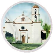 Round Beach Towel featuring the painting Mission San Luis Rey Colorful II by Kip DeVore
