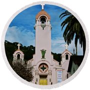 Mission San Rafael Round Beach Towel by Eric Tressler