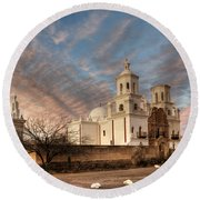 Mission San Xavier Del Bac Round Beach Towel by Vivian Christopher
