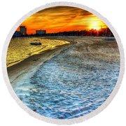 Beach - Coastal - Sunset - Mississippi Gold Round Beach Towel by Barry Jones