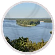 Mississippi River Overlook Round Beach Towel
