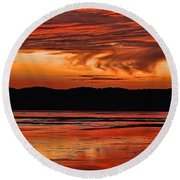 Round Beach Towel featuring the photograph Mississippi River Sunset by Don Schwartz