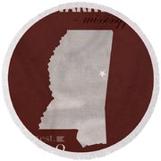 Mississippi State University Bulldogs Starkville College Town State Map Poster Series No 068 Round Beach Towel