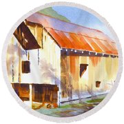 Round Beach Towel featuring the painting Missouri Barn In Watercolor by Kip DeVore