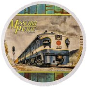 Missouri Pacific Lines Sign Engine 309 Dsc02854 Round Beach Towel