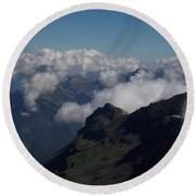 Mist From The Schilthorn Round Beach Towel