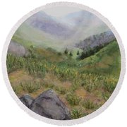 Mist In The Glen Round Beach Towel by Laurie Morgan